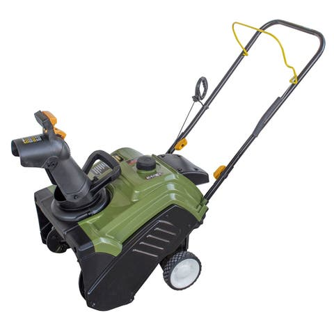 """Offex 18"""" Single Stage Gas Powered Snow Blower - Black/Green - N/A"""