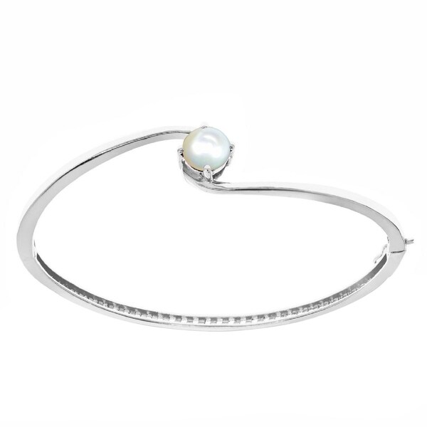 Sterling Silver with Cultured Pearl Bangle Bracelet-6.5''