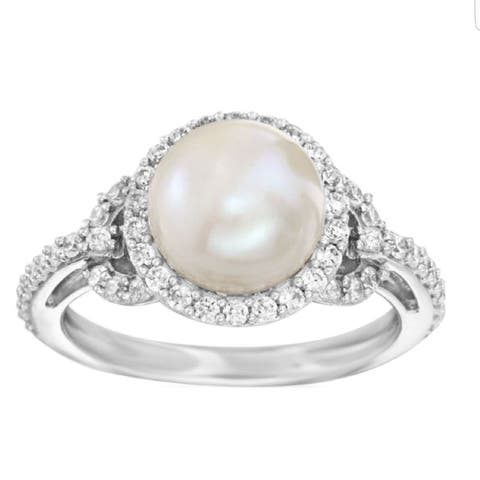 Sterling Silver with 8mm Cultured Pearl and Natural White Topaz Halo Ring
