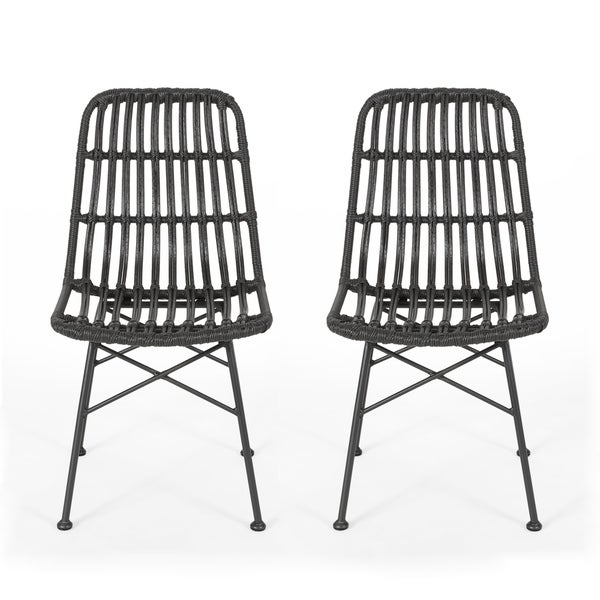 Assisi Indoor Wicker Dining Chairs (Set of 2) by Christopher Knight Home