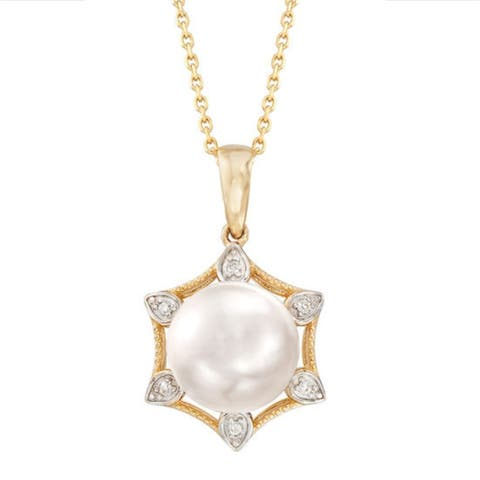 "Gold Over Sterling Silver with 8mm Cultured Pearl and Natural White Topaz Hexagon Shape Pendant with 18"" Chain"