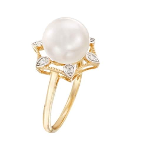 Gold Over Sterling Silver with Cultured Pearl and Natural White Topaz Hexagon ShapeRing