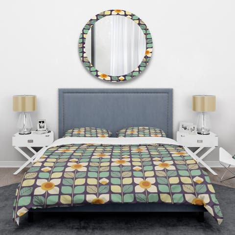 Designart 'Botanical Retro Design III' Mid-Century Duvet Cover Set