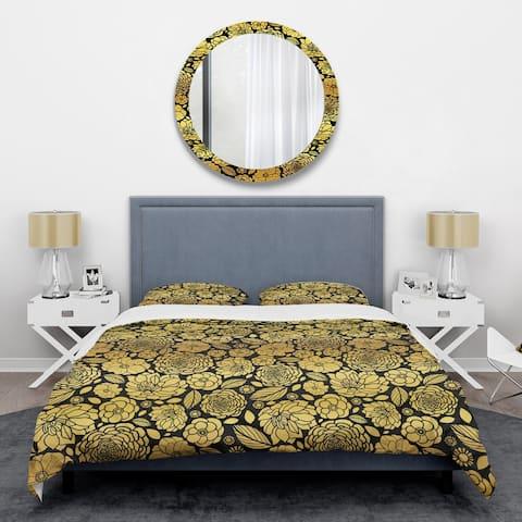 Designart 'Golden Floral II' Mid-Century Duvet Cover Set