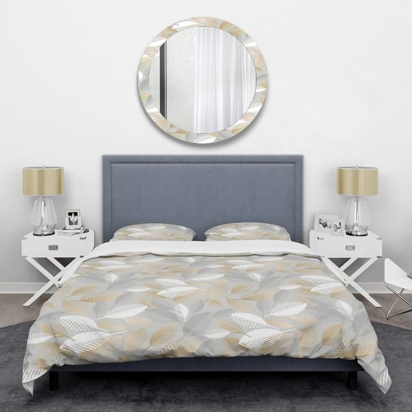 Designart Luxury Geometric Fall Leaves Pattern Mid Century Duvet Cover Set On Sale Overstock 28490372