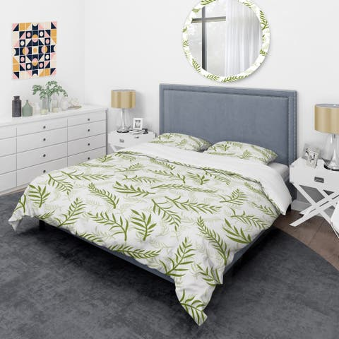 Designart 'Tropical Botanicals I ' Mid-Century Duvet Cover Set