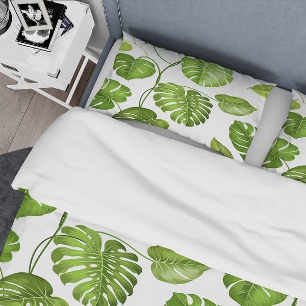 Designart Tropical Palm Leaves Ii Mid Century Duvet Cover Set Overstock 28490504 Cheap painting & calligraphy, buy quality home & garden directly from china suppliers:modern green tropical leaves canvas prints paintings pop wall art posters pictures on canvas for living room home decorative enjoy free shipping worldwide! overstock com