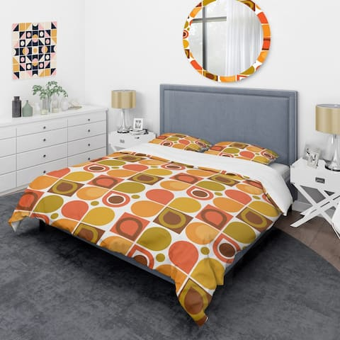 Designart 'Abstract Retro Geometric Pattern VI' Mid-Century Duvet Cover Set
