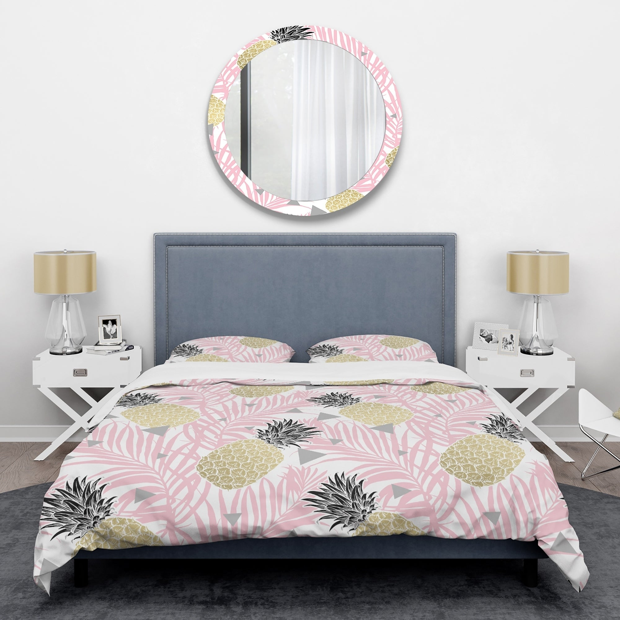Purple Abstract Geometry Pattern Luxury Duvet Covers Reversible Bedding Sets MS