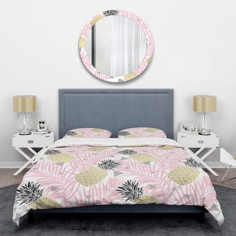 Designart 'Golden Pineapple Pink Leaves' Mid-Century Duvet Cover Set
