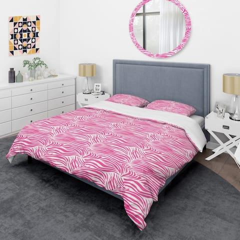 Designart 'Glamour Zebra Animal Pattern' Mid-Century Duvet Cover Set