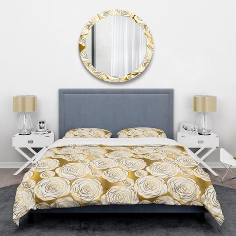 Designart 'Golden Floral III' Mid-Century Duvet Cover Set