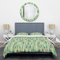 Designart 'Retro Abstract Drops VI' Mid-Century Duvet Cover Set