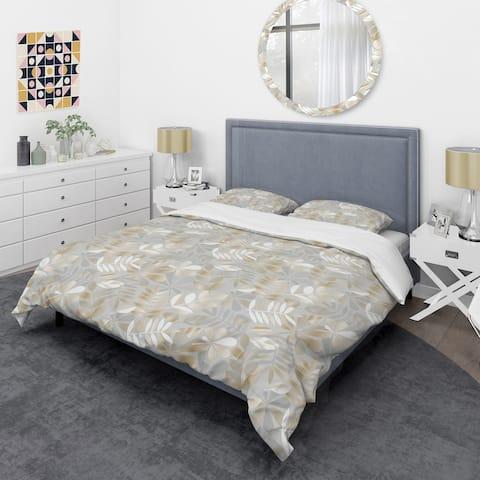 Designart 'Golden Tropical Pattern VIII' Mid-Century Duvet Cover Set