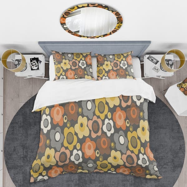 Designart Retro Floral Pattern Vii Mid Century Duvet Cover Set On Sale Overstock 28490664