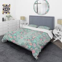 Designart 'Spring floral pattern in soft pastel colors' Mid-Century Duvet Cover Set