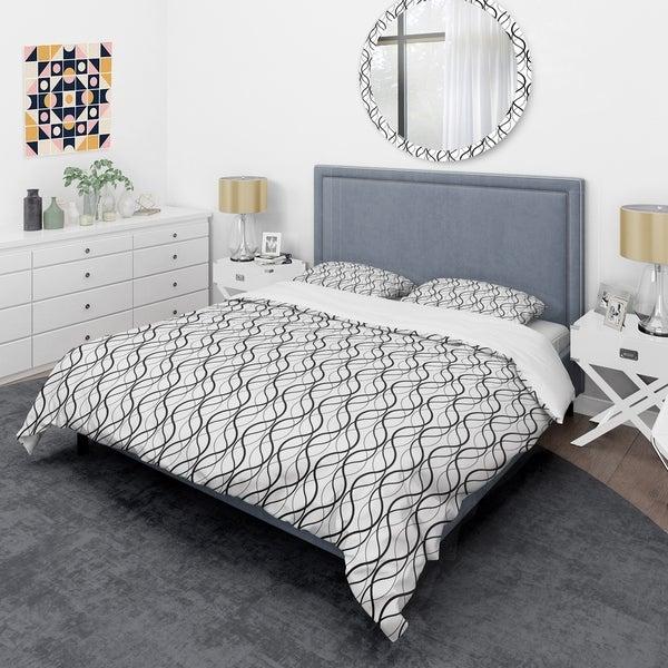 Designart 'Retro Geometrical Abstract Minimal Pattern X' Mid-Century Duvet Cover Set