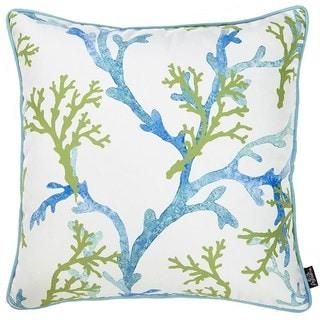 Porch & Den Rockport Blue/ Green Coral Throw Pillow Cover
