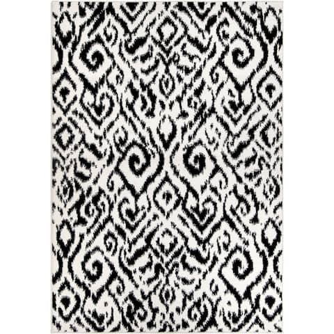 """Orian Sedona Nakai Black White Area Rug - 5'3"""" x 7'6"""""""