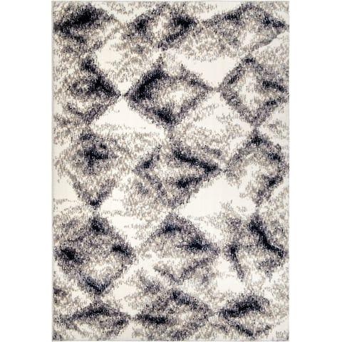 """Orian Angora Digital Stone White Area Rug - 5'3"""" x 7'6"""""""