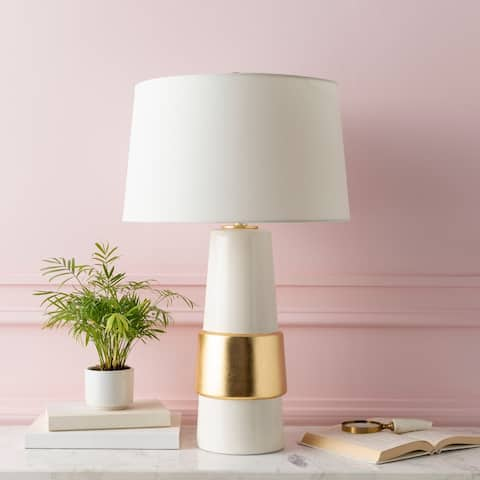 "Akoni Golden Glam 28.75-inch Table Lamp - 17"" x 17"" x 28.75"""