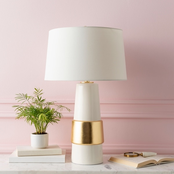 """Akoni Golden Glam 28.75-inch Table Lamp - 17"""" x 17"""" x 28.75"""". Opens flyout."""