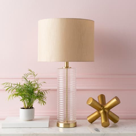 """Florent Mid-Century Ribbed Glass 26.5-inch Table Lamp - 14"""" x 14"""" x 26.5"""""""