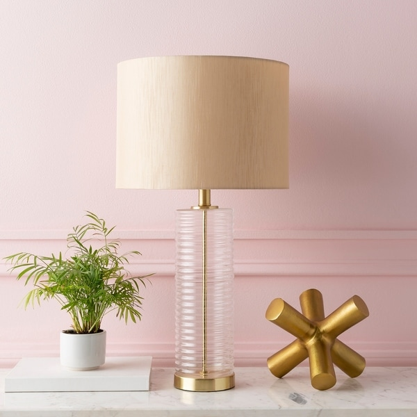 """Florent Mid-Century Ribbed Glass 26.5-inch Table Lamp - 14"""" x 14"""" x 26.5"""". Opens flyout."""