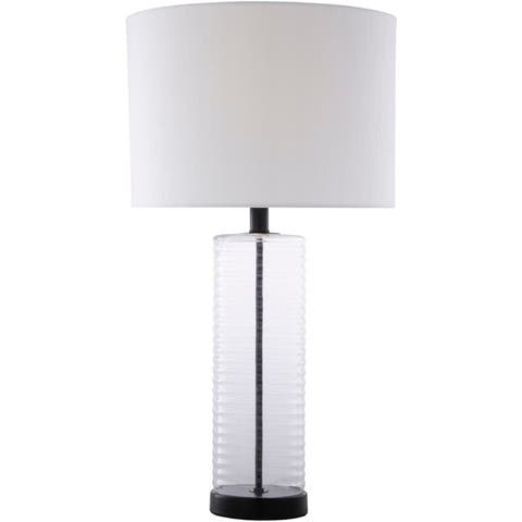 "Florent Mid-Century Ribbed Glass 26.5-inch Table Lamp - 14"" x 14"" x 26.5"""
