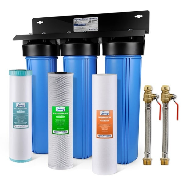 iSpring WGB32BM 3-Stage Whole House Water Filtration System w/ Iron & Manganese Reducing Filter w/ Push-Fit Stainless Steel Hose
