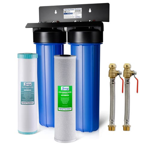 iSpring WGB22BM 2-Stage Whole House Water Filtration System w/ Iron & Manganese Reducing Filter w/ Push-Fit Stainless Steel Hose