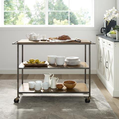 Carbon Loft Downey Washed Oak Kitchen Cart