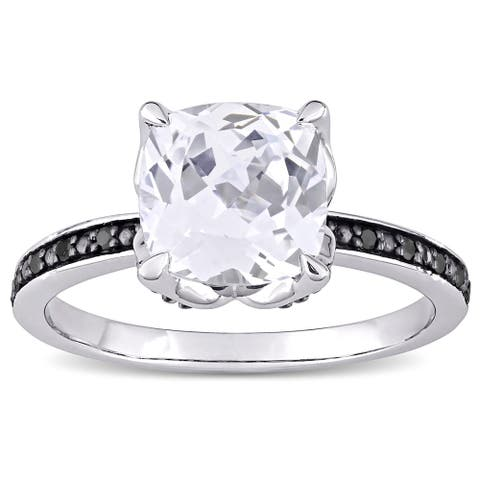 Miadora 10k White Gold Cushion-Cut Created White Sapphire and Black Diamond Engagement Ring