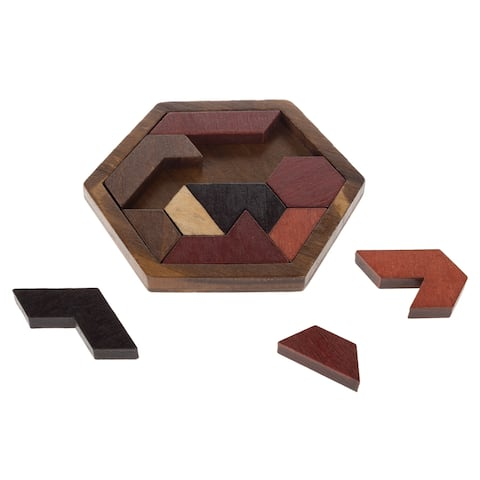 Hexagon Block Puzzle 11pc Geometric Tangram Jigsaw Toy by Hey! Play! - Black/Brown/Red - 5.5 x 4.75 x 0.5
