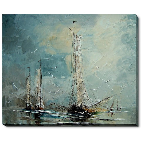 """ArtistBe by overstockArt Boats by Justyna Kopania Gallery Wrapped Canvas Wall Art, 22"""" x 18"""" - 22"""" x 18"""""""