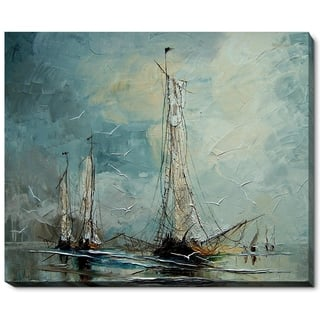 "ArtistBe by overstockArt Boats by Justyna Kopania Gallery Wrapped Canvas Wall Art, 22"" x 18"" - 22"" x 18"""