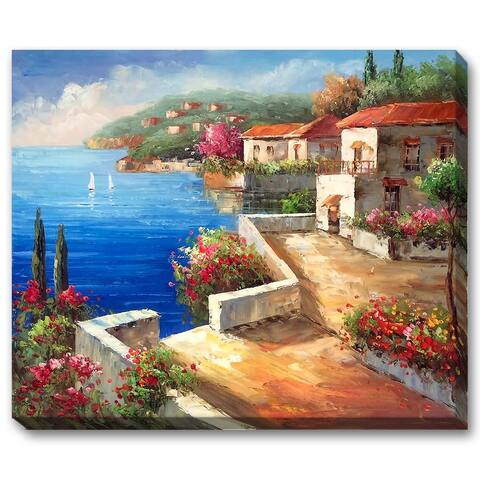 """La Pastiche by overstockArt Vacation Harbor Gallery Wrapped Canvas Oil Painting Reproduction, 22"""" x 18"""" - 22"""" x 18"""""""