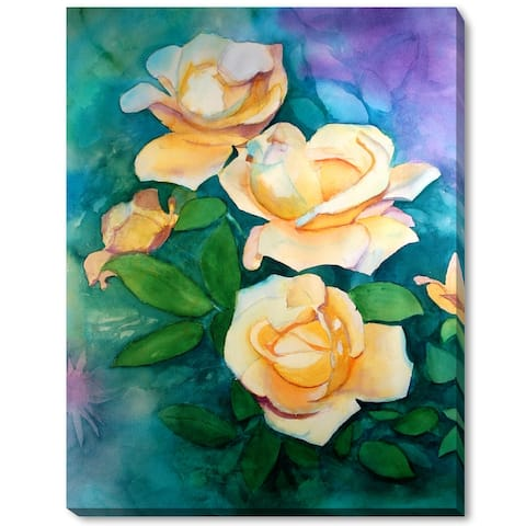 """ArtistBe by overstockArt Yellow Roses by Lynne Atwood Gallery Wrapped Canvas Wall Art, 18"""" x 14"""" - 18"""" x 14"""""""