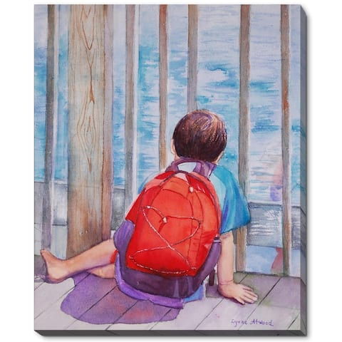 """ArtistBe by overstockArt Red Backpack by Lynne Atwood Gallery Wrapped Canvas Wall Art, 22"""" x 18"""" - 22"""" x 18"""""""