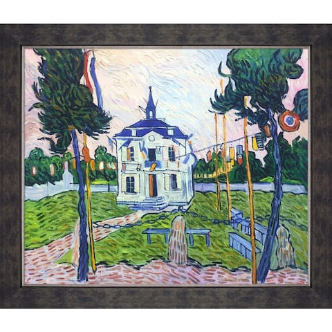 "La Pastiche Auvers Town Hall in 14 July by Vincent Van Gogh w/ Walnut, Champagne, Gold Suede Premier Framed Art, 28"" x 24"""
