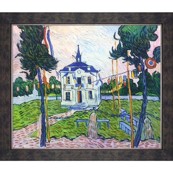 """La Pastiche Auvers Town Hall in 14 July by Vincent Van Gogh w/ Walnut, Champagne, Gold Suede Premier Framed Art, 28"""" x 24"""". Opens flyout."""