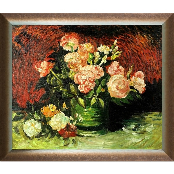 """La Pastiche Bowl with Peonies and Roses by Vincent Van Gogh with Silver, Bronze Spoleto Frame Oil Painting Wall Art, 28"""" x 24"""". Opens flyout."""