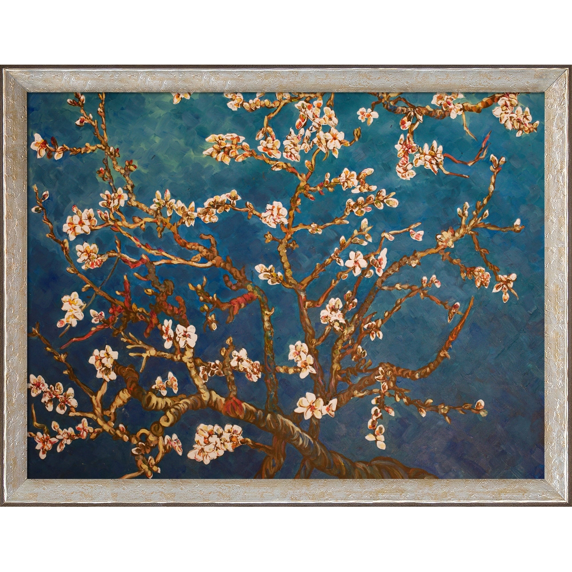 La Pastiche Branches Of An Almond Tree In Blossom By Vincent Van Gogh With Silver Luna Frame Oil Painting Wall Art 44 X 34 On Sale Overstock 28491524
