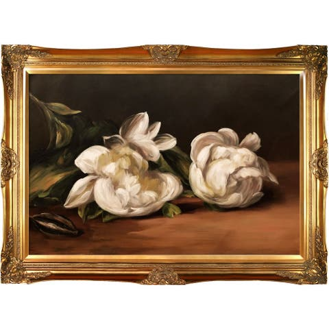 """La Pastiche Branch Of White Peonies With Pruning Shears by Edouard Manet with Gold Victorian Frame Oil Painting, 44"""" x 32"""""""