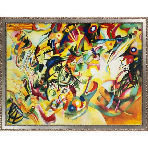 "La Pastiche Composition VII, 1913 by Wassily Kandinsky with Silver Versailles Salon Frame Oil Painting Wall Art, 44"" x 34"""