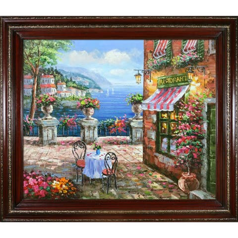 """La Pastiche by overstockArt Cafe Italy with Cherry and Gold Heritage Wood Frame Oil Painting Wall Art, 30"""" x 26"""""""