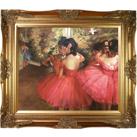 """La Pastiche by overstockArt Dancers in Pink by Edgar Degas with Gold Victorian Frame Oil Painting Wall Art, 32"""" x 28"""""""