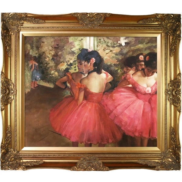 """La Pastiche by overstockArt Dancers in Pink by Edgar Degas with Gold Victorian Frame Oil Painting Wall Art, 32"""" x 28"""". Opens flyout."""