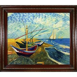 """La Pastiche Fishing Boats on the Beach at Saintes-Maries by Vincent Van Gogh Cherry and Gold Heritage Framed Art, 30"""" x 26"""""""