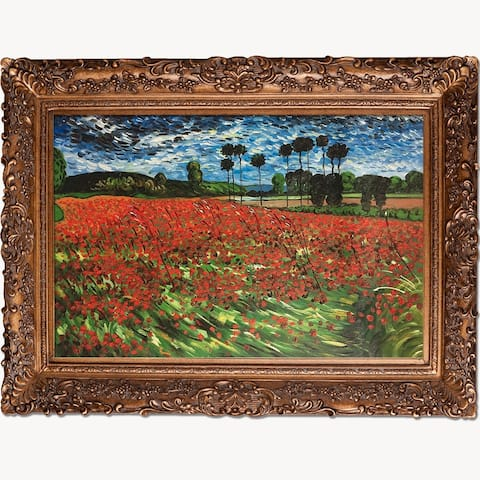 "La Pastiche by overstockArt Field of Poppies by Vincent Van Gogh with Gold Burgeon Frame Oil Painting Wall Art, 45.5"" x 33.5"""